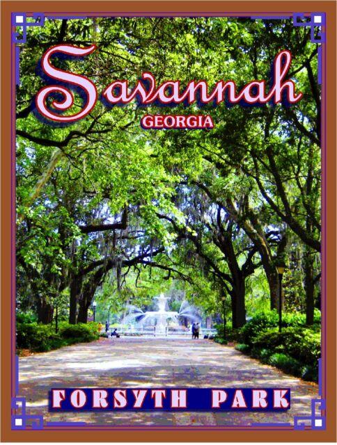 Savannah Georgia Forsyth Park United States America Travel Advertisement Poster
