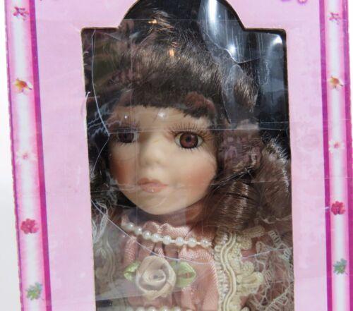 J Misa Porcelain Doll Brown Hair Rose Dress Hat Parasol Never Removed from Box