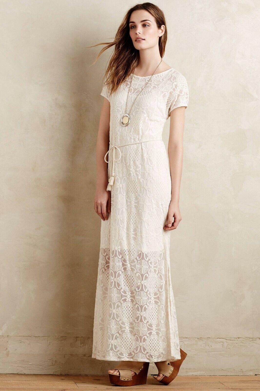 NEW Anthropologie Lilka Bellflower Lace Dress, Größe M, Cream Lace Maxi, Was