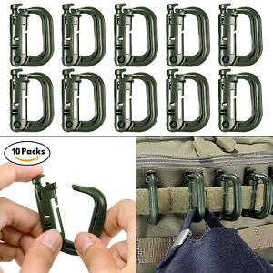 10-Pcs-Army-Green-Clips-for-Molle-Webbing-Multipurpose-Grimloc-D-Ring-with-Pouch