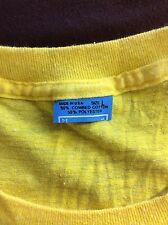 Vtg Early 80s Screen Stars Blue Tag Plain Yellow T-Shirt M/L Blank 50/50