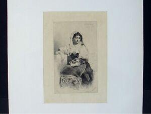 """Belle Gravure De Célestin Nanteuil """" Jacintha """" Sur Papier Japon Nacré / 1866 Renforcement Des Nerfs Et Des Os"""