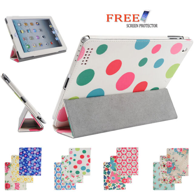 3 Fold Flower Pu Leather Smart Cover Case for Apple iPad 4 3 2