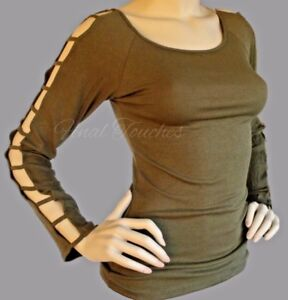 26a6ecc7c2cb47 Olive Green ribbed long sleeve top cold shoulder ladder cut out ...