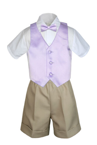 4pc Set Boy Toddler Formal Lilac Vest and Bow tie White Khaki Shorts S-4T