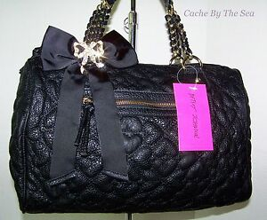 Betsey-Johnson-Handbag-Quilted-Love-Hearts-Black-Satchel-Crystal-Bow-Charm-108