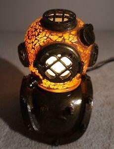 Crackle Glass Scuba Diver's Helmet Diving Helmet LAMP LIGHT Beach Home Decor NEW