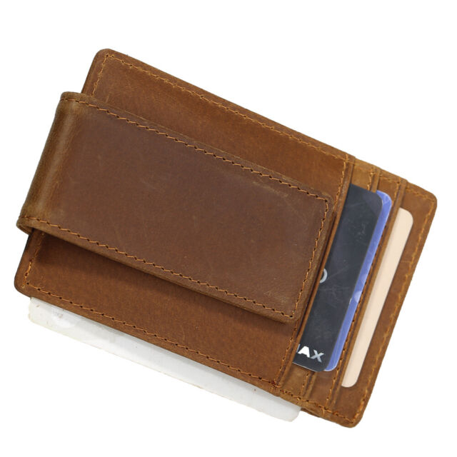 Credit ID Card Picture Pockets Real Carbon Fiber Brown Leather Wallet Bill Fold