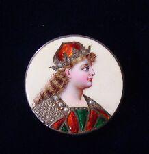 Antique Victorian Enamel Lady's Portrait Brooch