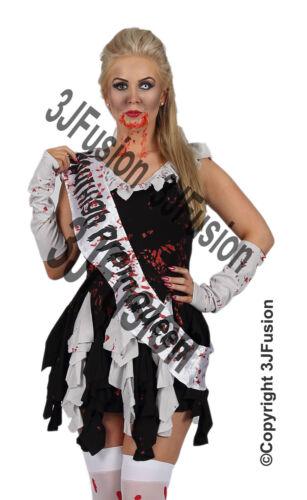 Donna adulto Zombie SCUOLA Reginetta del Ballo Costume Da Donna Halloween Fancy Dress ED