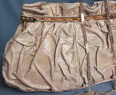 Carlo Fiori Of Italy Handbag Purse Shoulder Beige Snake Skin Gold Chain Strap Ev