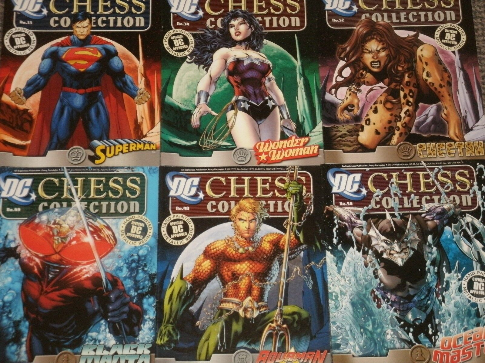DC Chess Collection Set 2 Eaglemoss  Justice League, Wonder Woman Aquaman Flash