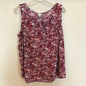 SONOMA-Life-Style-Red-Floral-Sleeveless-Blouse-Size-XXL-VGUC