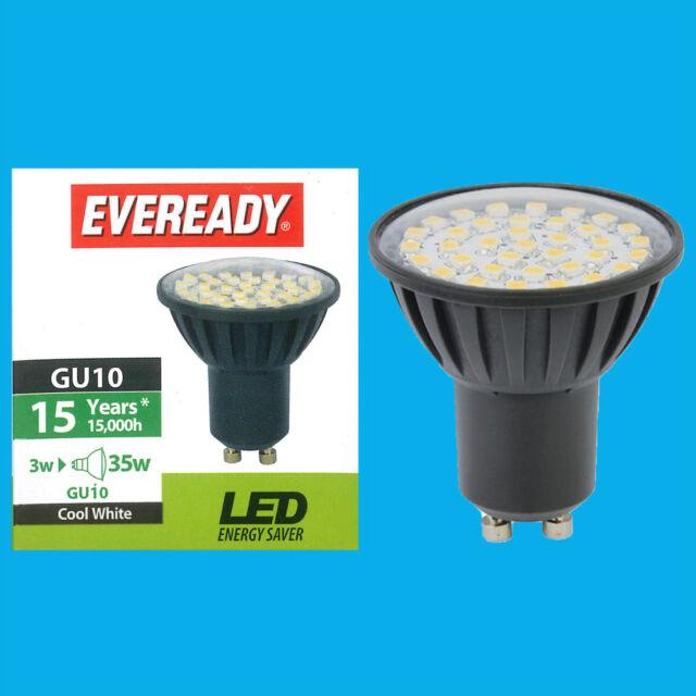 2x 3W Eveready LED 6500K Daylight White Low Energy GU10 Spot Light Bulb Lamp