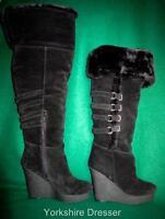 Nine West 'estrada' Long Black Suede Fur Platform Wedge Boots -uk 7 / Eur 40