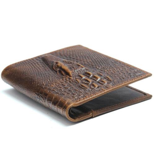 100/% Genuine Leather Men/'s Bifold Wallet Crocodile Pattern Business Card Holder