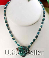 Natural Blue Turquoise Beads & Carved Rose Pendant Sterling Silver Necklace 19