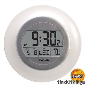 Round Digital Wall Clock Temp Day Date Large LCD Time Display