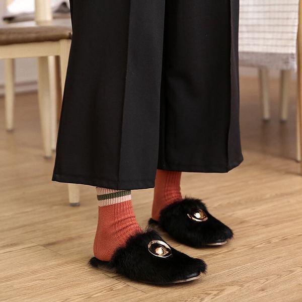 Mocassins chaussons sabot doux noir laine polaire fourrure comme cuir 1750