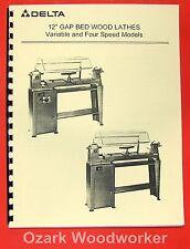 Delta Rockwell 12 Gap Bed Wood Lathe Operating Amp Parts Manual 0198