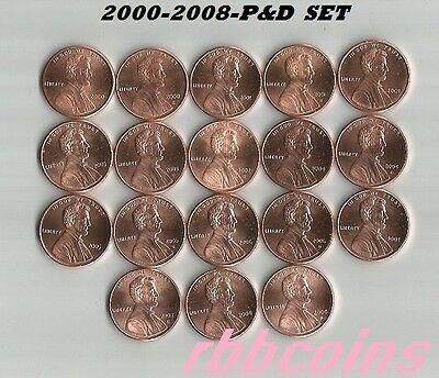 COMPLETE SET 2000-2008-P&D UNCIRCULATED LINCOLN MEMORIAL CENTS