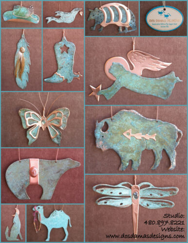 WREATH Christmas Holiday Copper Verdigris Christmas Ornament Handcrafted AZ