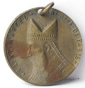 Medalla-colgante-San-Marcel-Archveque-de-Paris-c1920-AJ-Corbierre-22mm-Medal