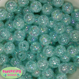 Details about 16mm Mint Acrylic Crackle Bubblegum Beads Lot 20 pc chunky  gumball