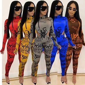 NEW Women Lovely Printed Mock Neck Long Sleeve Zipper Bodycon Club Long Jumpsuit