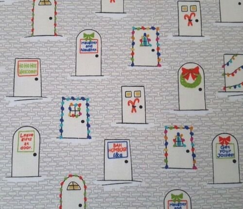 Ink /& Arrow BTY Decorated Christmas Lights Front Doors Ecru Naughty or Nice