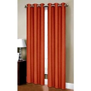2 Orange Panels Faux Silk Thermal Lined Blackout Grommet Window Curtain K32 63 Ebay