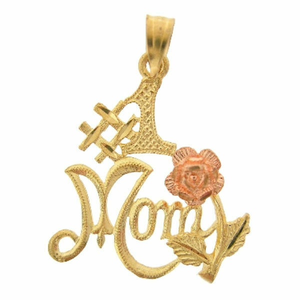 Ladies 14K Yellow and pink gold Mom Pendant