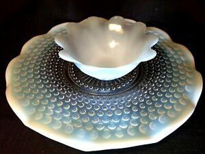 Vintage Anchor Hocking Moonstone OPALESCENT Ruffled Edge Glass Serving Dish Set