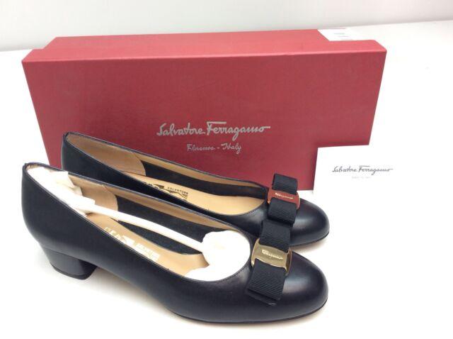 5d2be19ead64 Salvatore Ferragamo Vara Bow NERO Black Calf Pump Heel Size 6 B