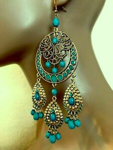 TOPSHOP LONG AND LARGE BEADED STATEMENT CHANDELIER EARRINGS NEW
