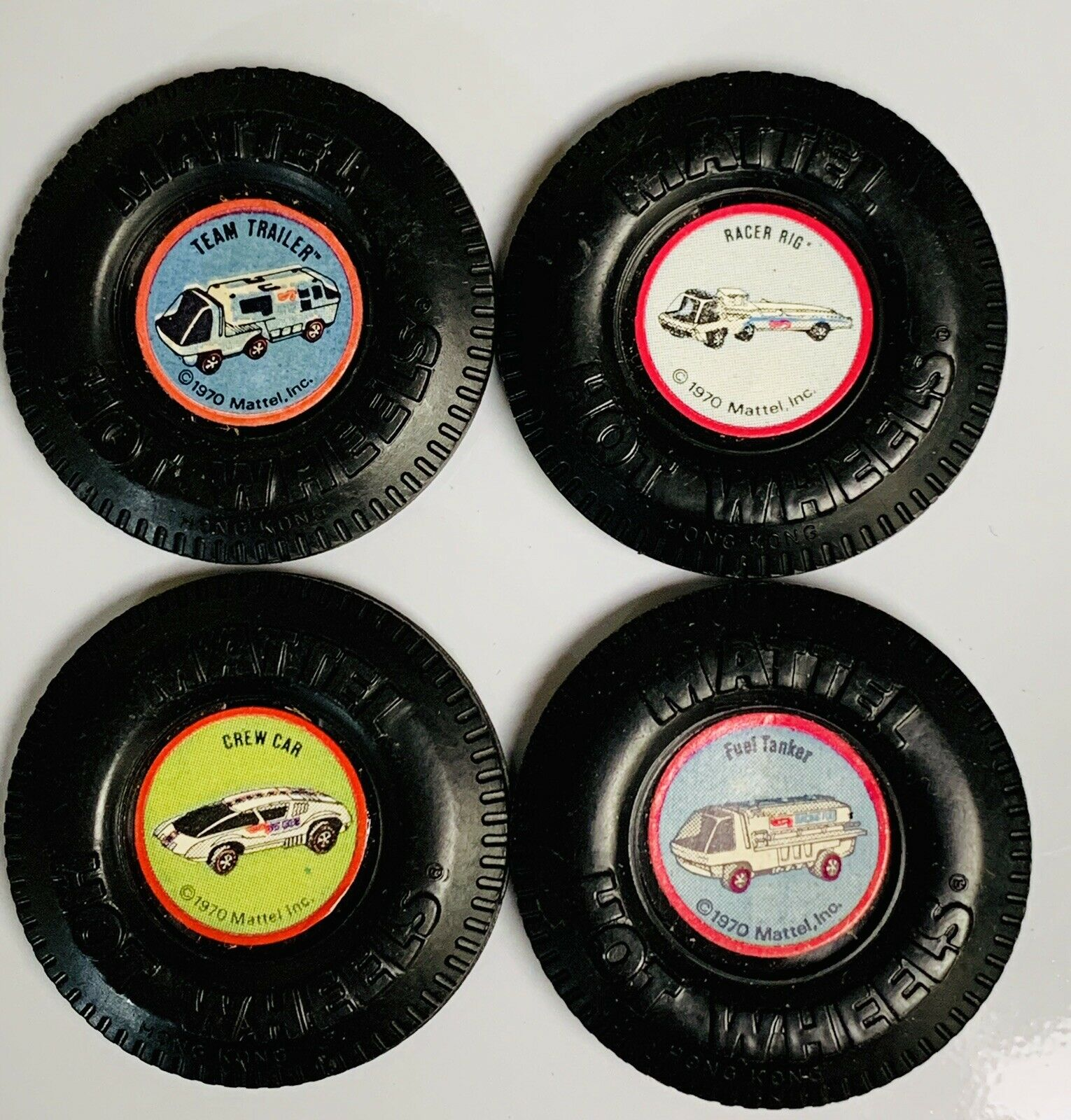 Hot Wheels rossoline Heavyweights Racing Team Buttons x4 w  Tabs