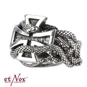 Echt-etNox-Eisernes-Kreuz-Schlange-Ring-925er-Silber-Gothic-Schmuck-NEU