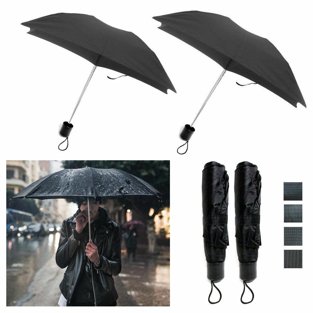 2 X Faltbarer Schirm Mini Portable Compact Notfall Wetter Reise Schwarz 91.4cm