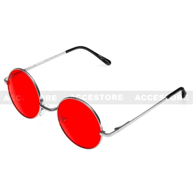 57a7a4d3ae0 Red Lens Round Shades Glasses John Lennon Style Sunglasses Retro Hippie  Party