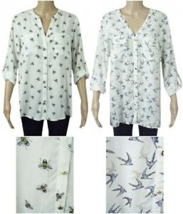 New-Ex-F-amp-F-Ladies-Ivory-Bee-or-Bird-Print-Long-Sleeved-Blouse-Size-10-22