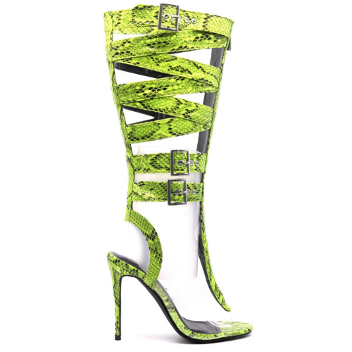 Cape Robbin EXTREME Lime Snake Knee High Open Toe Super Strappy Gladiator Heel
