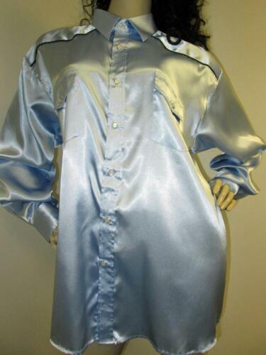 VINTAGE: SATIN! Powder Blue Satin Western Style Sh
