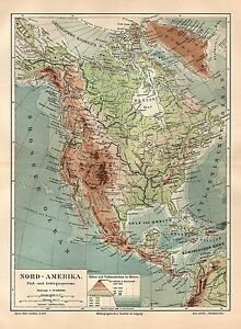 Nordamerika Flusse Gebirge Physikalische Karte Landkarte 1905 Ebay