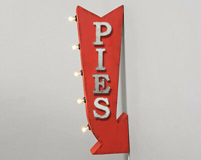 PIES Bakery Pastries Pie Metal Double Sided Marquee Entrance Arrow Light Up Sign