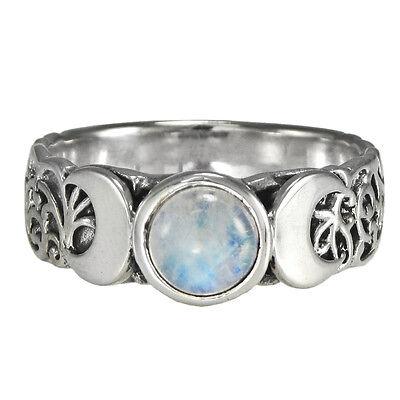 Triple Moon Lunar Coddess Pentagram Wika Pagan Ring 7 g Sterling Silver Beldiamo