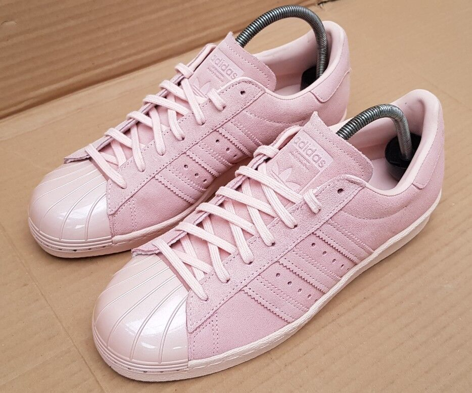 NEW ADIDAS SUPERSTAR 80'S TRAINERS rose SUEDE GLOSS METAL TOE IN SIZE 7RARE