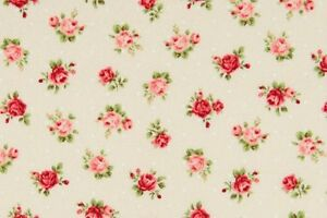 Cottage-Shabby-Chic-Quilt-Gate-Fabric-Roses-RU2220Y-17A-Pale-PeachyBeige-BTY