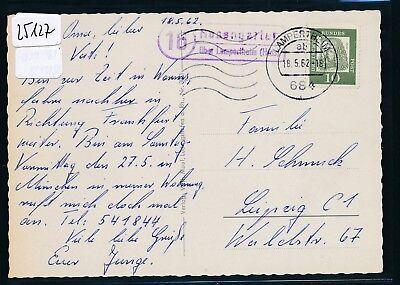 Landpost Ra2 16 Rosengarten über Lampertheim Karte 1962 hess 25127