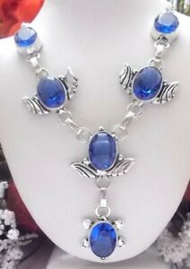 BEAUTIFUL-BLUE-TANZANITE-QUARTZ-925-STERLING-SILVER-NECKLACE-STAMPED-18-INCHES