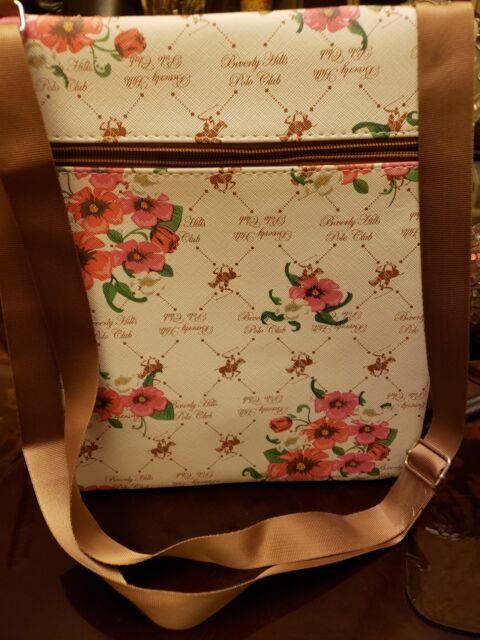 Beverly Hills Polo Club Crossbody Messenger Bag Purse White Pink   eBay cfd41a14a9